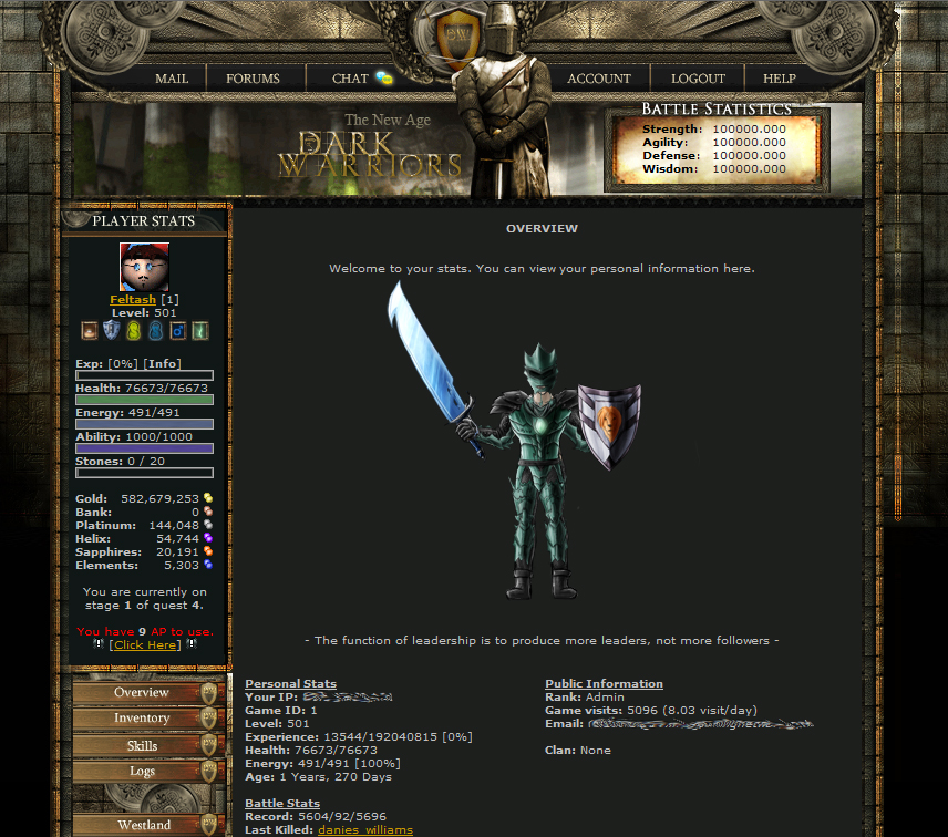 Dark Warriors a Top, Free Text Based Browser Game
